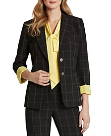 Plaid Button-Front Blazer