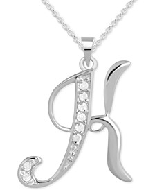"Diamond K Initial 18"" Pendant Necklace (1/10 ct. t.w.) in Sterling Silver"