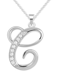 "Diamond C Initial 18"" Pendant Necklace (1/10 ct. t.w.) in Sterling Silver"