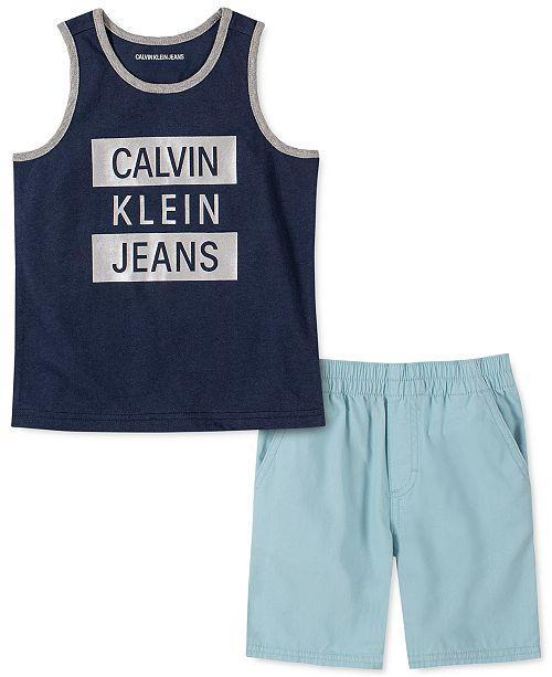 Calvin Klein Little Boys 2-Pc. Logo Tank Top & Poplin Shorts Set
