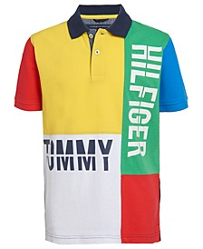 Big Boys Pieced Colorblocked Logo-Print Polo Shirt