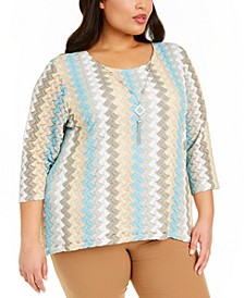 Plus Size Chesapeake Bay Textured Lace Necklace Top