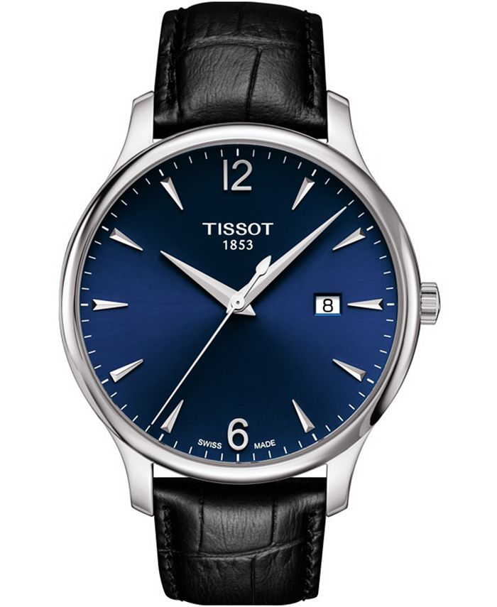 Tissot - Unisex Swiss T-Classic Tradition Black Leather Strap Watch 42mm
