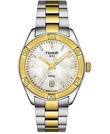 Tissot Women's Swiss PR 100 Sport Chic T-Classic Two-Tone Stainless Steel Bracelet Watch 36mm