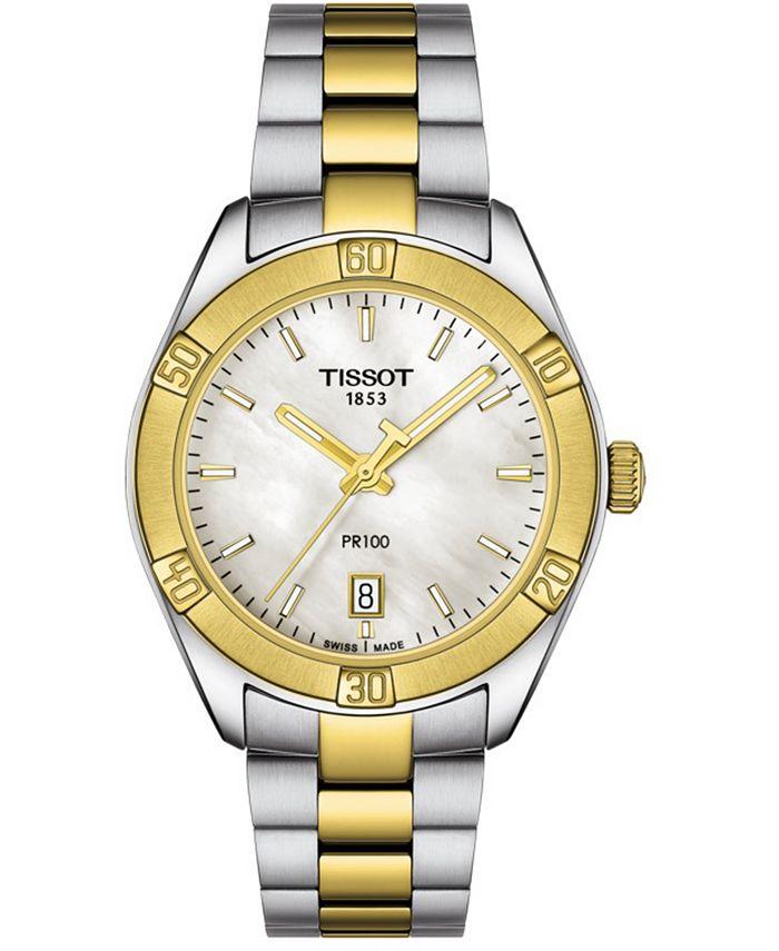 Tissot - Women's Swiss PR 100 Sport Chic T-Classic Two-Tone Stainless Steel Bracelet Watch 36mm