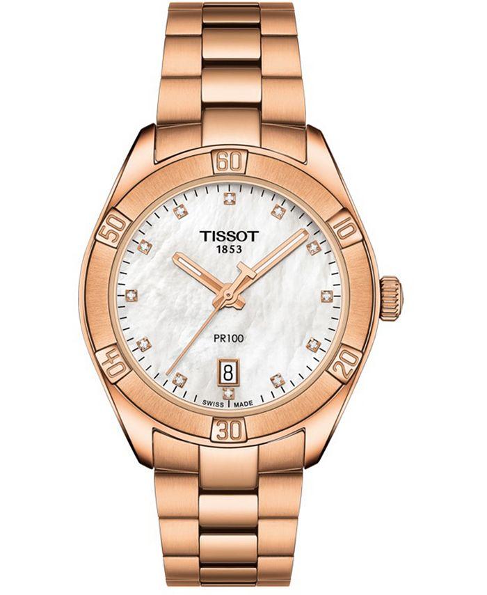 Tissot - Women's Swiss PR 100 Sport Chic T-Classic Diamond (1/20 ct. t.w.) Rose Gold-Tone Stainless Steel Bracelet Watch 36mm
