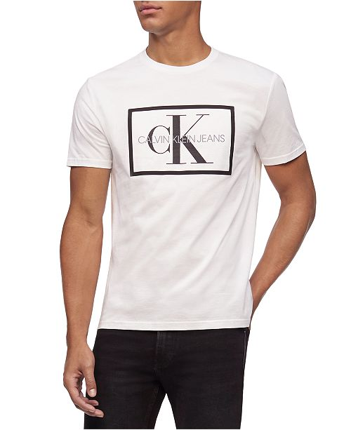 Calvin Klein Jeans Men's Box Monogram Mesh Logo Graphic T-Shirt