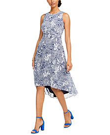 Taylor Petite Printed High-Low Dress