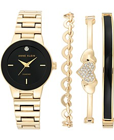 Women's Diamond-Accent Gold-Tone Bracelet Watch 30mm Gift Set