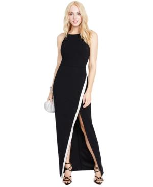 Juniors' High Slit Asymmetrical Sequin-Trim Gown