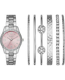 Women's Silver-Tone Bracelet Watch 32mm Gift Set