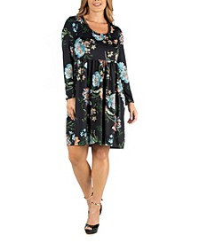 Floral Knee Length Pleated Long Sleeve Plus Size Dress