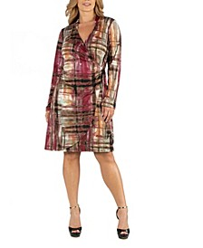 Plaid Print Knee Length Long Sleeve Plus Size Wrap Dress