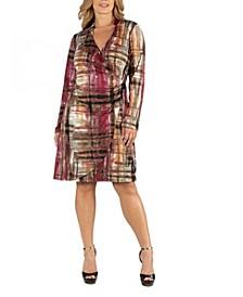 Plaid Print Knee Length Long Sleeve Plus Size Wrap Dress