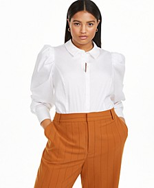 Plus Size Puff Sleeve Bodysuit, Created for Macy's