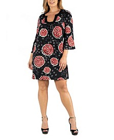 Black and Red Print Plus Size Shift Dress