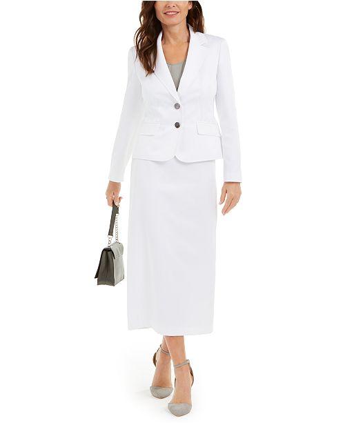 Le Suit Notched-Lapel Column Skirt Suit