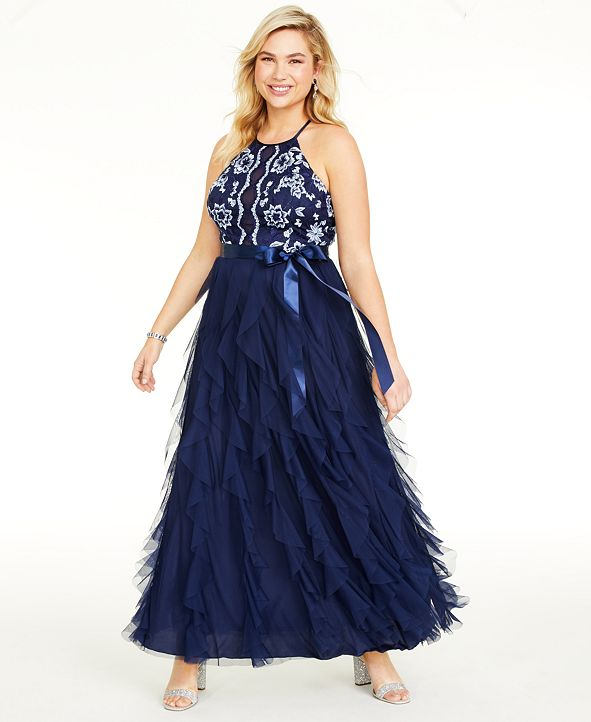 Teeze Me Trendy Plus Size Floral-Embroidered Gown