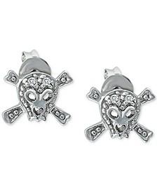 Cubic Zirconia Rock n' Roll Stud Earrings in Sterling Silver