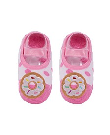 Baby Boys and Girls Anti-Slip Cotton Socks with Donut Applique