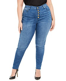 Plus Size Button-Front Skinny Jeans