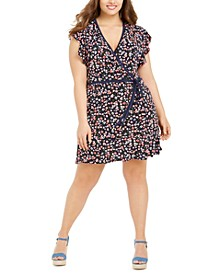 Plus Size Printed Flutter-Sleeve Faux-Wrap Dress