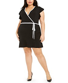 Plus Size Flutter-Sleeve Faux-Wrap Dress
