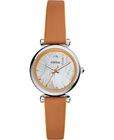 Women's Carlie Mini Orange & Luggage Leather Strap Watch 28mm
