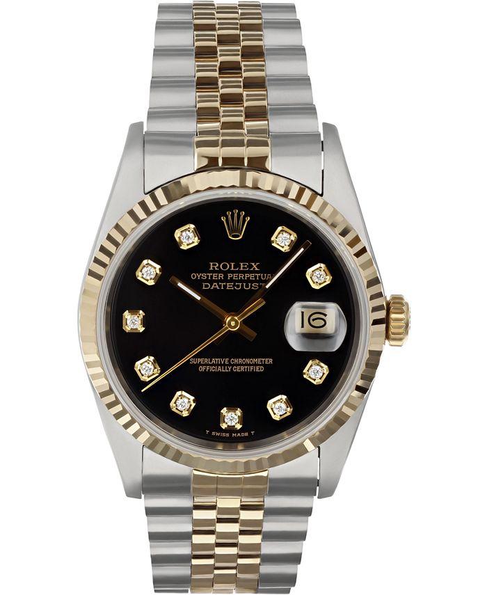 Pre-Owned Rolex - Men's Swiss Automatic Datejust Jubilee Diamond (1/8 ct. t.w.) 18K Gold & Stainless Steel Bracelet Watch 36mm