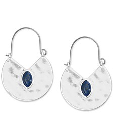 Silver-Tone Stone Reversible Drop Earrings