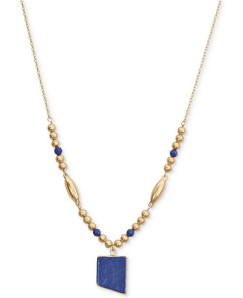 "Lucky Brand Gold-Tone Geometric Stone Beaded Pendant Necklace, 19"" + 2"" extender"