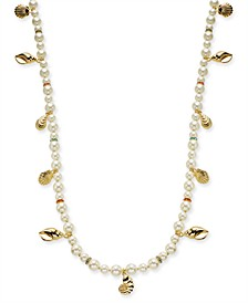 "Gold-Tone Pavé & Imitation Pearl Beaded Shell Strand Necklace, 42"" + 2"" extender, Created for Macy's"
