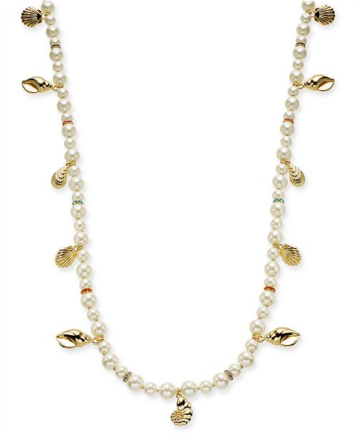 "Charter Club Gold-Tone Pavé & Imitation Pearl Beaded Shell Strand Necklace, 42"" + 2"" extender, Created for Macy's"
