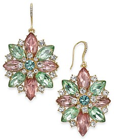 Gold-Tone Crystal & Stone Flower Drop Earrings, Created for Macy's