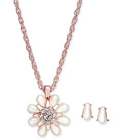 Rose Gold-Tone Imitation Pearl & Crystal Pendant Necklace and Stud Earrings Set, Created for Macy's