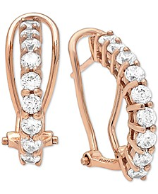 Cubic Zirconia Clutchless Hoop Earrings in 18k Rose Gold-Plated Sterling Silver