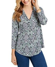 Paisley-Print V-Neck Top, Created for Macy's