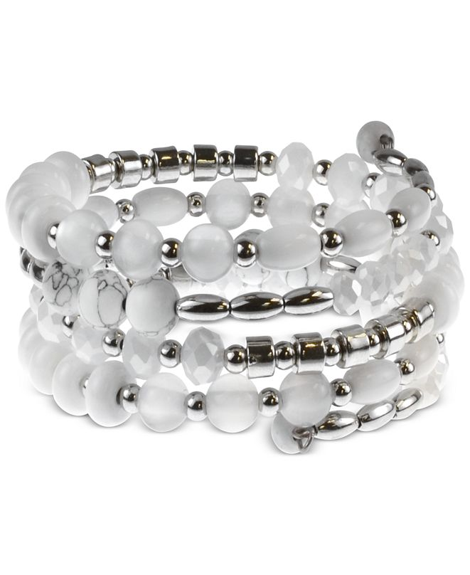 Style & Co Silver-Tone Beaded Coil Bracelet, Created for Macy's