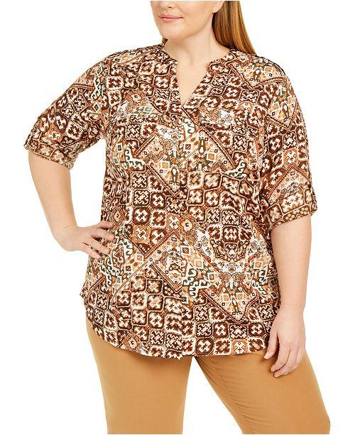 Calvin Klein Plus Size Printed Roll Sleeve Shirt