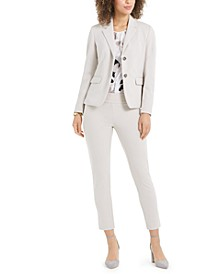 Two-Button Blazer, Sleeveless Floral-Print Blouse & Crepe Pants
