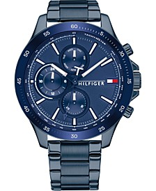 Men's Chronograph Blue Stainless Steel Bracelet Watch 46mm