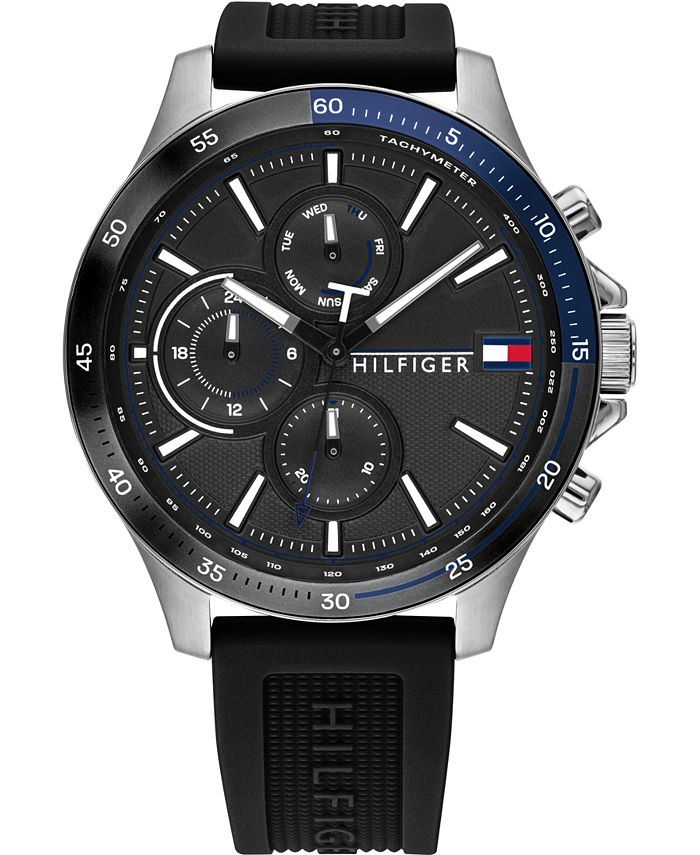 Tommy Hilfiger - Men's Chronograph Black Silicone Strap Watch 46mm