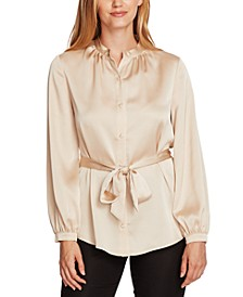 Charmeuse Button-Down Belted Tunic Top