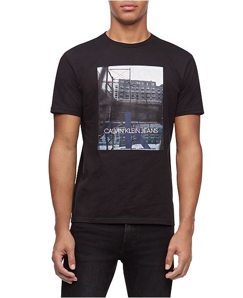 Calvin Klein Jeans Men's Mesh Court Logo Graphic T-Shirt