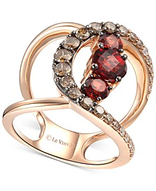 Pomegranate Garnet (1-3/4 ct. t.w.) & Diamond (9/10 ct. t.w.) Ven Statement Ring in 14k Rose Gold