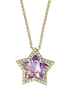 "EFFY® Amethyst (2 3/8 ct. t.w.) & Diamond (1/6 ct. t.w.) 18"" Pendant Necklace in 14k Gold"