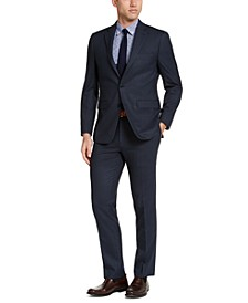 Men's Slim-Fit Blue Windowpane Suit
