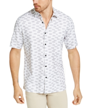 Alfani Men's Ikat Block-Print Linen Shirt, Created for Macy's
