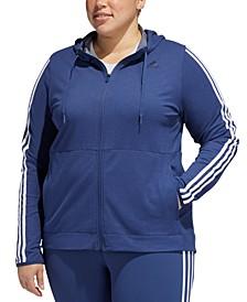 Plus Size Striped Zip Hoodie