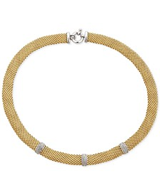 "Diamond Station Dew Drop Link 18"" Statement Necklace (3/8 ct. t.w.) in Gold-Tone Sterling Silver Vermeil"
